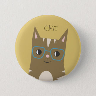 Tabby Cat with Glasses | Monogram 2 Inch Round Button