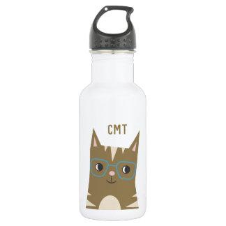 Tabby Cat with Glasses | Monogram 532 Ml Water Bottle