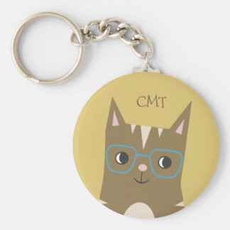 Tabby Cat with Glasses | Monogram Keychain
