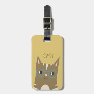 Tabby Cat with Glasses | Monogram Luggage Tag