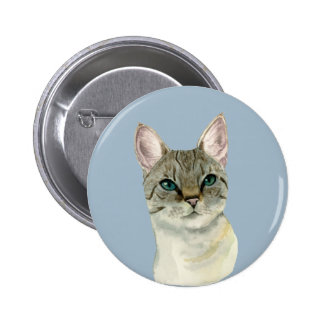 Tabby Cat with Pretty Green Eyes Watercolor 2 Inch Round Button