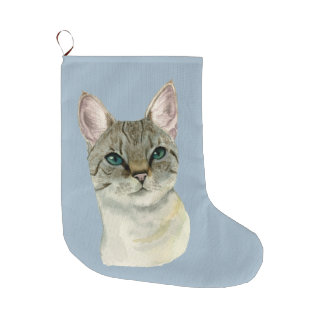 Tabby Cat with Pretty Green Eyes Watercolor Large Christmas Stocking