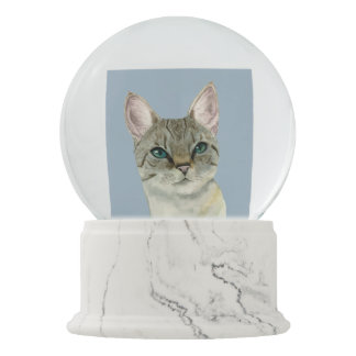 Tabby Cat with Pretty Green Eyes Watercolor Snow Globe