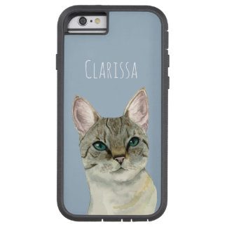 Tabby Cat with Pretty Green Eyes Watercolor Tough Xtreme iPhone 6 Case