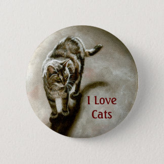 Tabby Cat with shadow, I Love Cats 2 Inch Round Button
