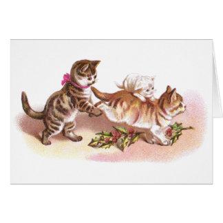 Tabby Cats & Holly Victorian Christmas Card