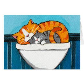 Tabby Cats in the Sink - Cat Art Blank Card