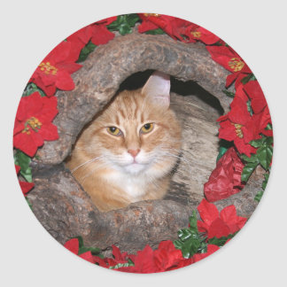 Tabby Christmas Classic Round Sticker