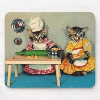 tabby kitten chef and tabby kitten assistant mouse pad