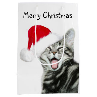 Tabby kitten Christmas Medium Gift Bag
