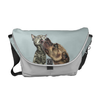 Tabby Kitten Getting A Pit Bull Kiss Courier Bags