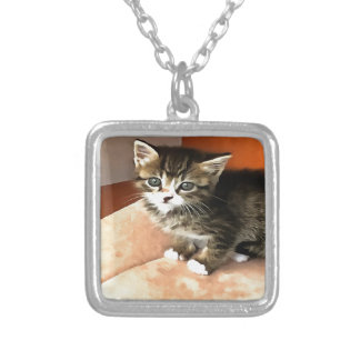 Tabby Kitten Named Miss Pip Squeak Silver Plated Necklace