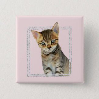 Tabby Kitten Painting with Faux Marble Frame 2 Inch Square Button