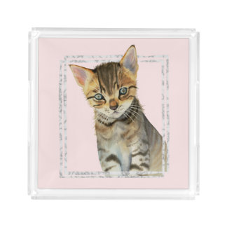 Tabby Kitten Painting with Faux Marble Frame Acrylic Tray