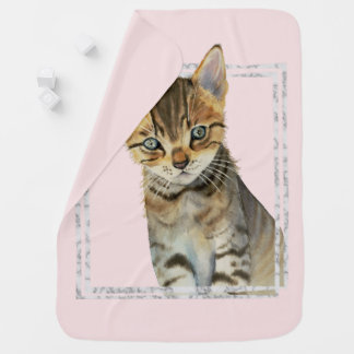Tabby Kitten Painting with Faux Marble Frame Baby Blanket