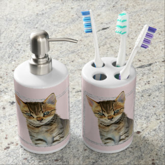 Tabby Kitten Painting with Faux Marble Frame Bathroom Set