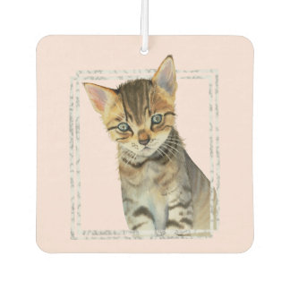 Tabby Kitten Painting with Faux Marble Frame Car Air Freshener