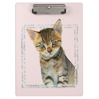 Tabby Kitten Painting with Faux Marble Frame Clipboard