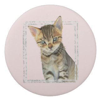 Tabby Kitten Painting with Faux Marble Frame Eraser