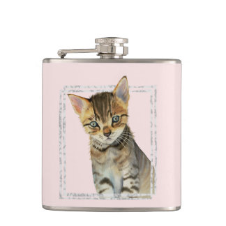 Tabby Kitten Painting with Faux Marble Frame Hip Flask