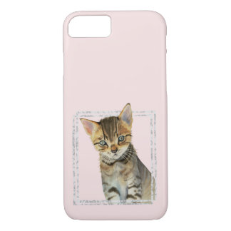 Tabby Kitten Painting with Faux Marble Frame iPhone 8/7 Case
