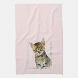 Tabby Kitten Painting with Faux Marble Frame Kitchen Towel