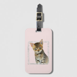 Tabby Kitten Painting with Faux Marble Frame Luggage Tag