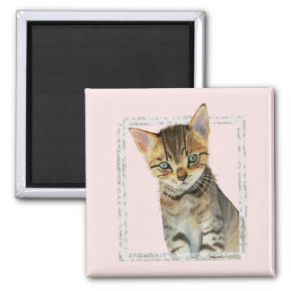 Tabby Kitten Painting with Faux Marble Frame Magnet