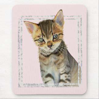 Tabby Kitten Painting with Faux Marble Frame Mouse Pad