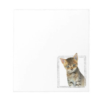 Tabby Kitten Painting with Faux Marble Frame Notepad