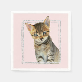 Tabby Kitten Painting with Faux Marble Frame Paper Napkin