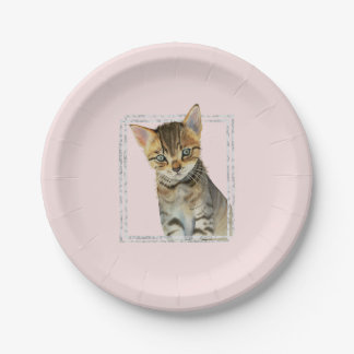 Tabby Kitten Painting with Faux Marble Frame Paper Plate