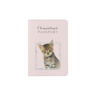 Tabby Kitten Painting with Faux Marble Frame Passport Holder