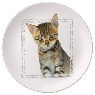 Tabby Kitten Painting with Faux Marble Frame Plate