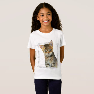 Tabby Kitten Painting with Faux Marble Frame T-Shirt