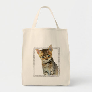 Tabby Kitten Painting with Faux Marble Frame Tote Bag