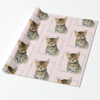 Tabby Kitten Painting with Faux Marble Frame Wrapping Paper