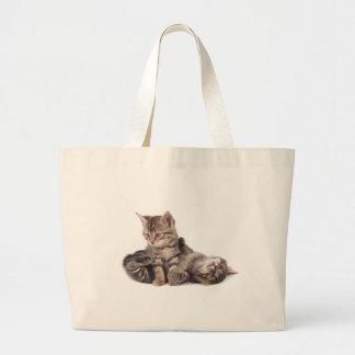 tabby kittens playing jumbo tote bag
