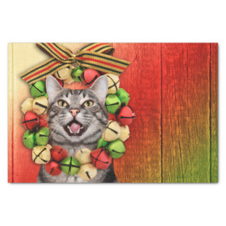 Tabby kitty cat Christmas Tissue Paper