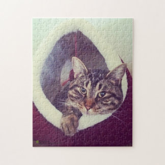 Tabby Kitty In Hut Close-Up Photograph Jigsaw Puzzle