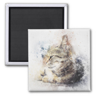 Tabby Love | Abstract | Watercolor Magnet