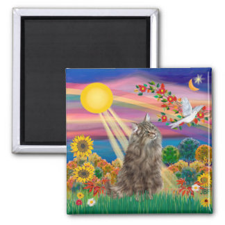 Tabby Norwegian Forest Cat - Autumn Sun Magnet