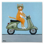 Tabby on a Scooter Poster