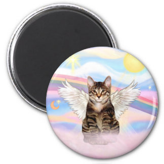 Tabby Tiger Cat Angel in Clouds 2 Inch Round Magnet