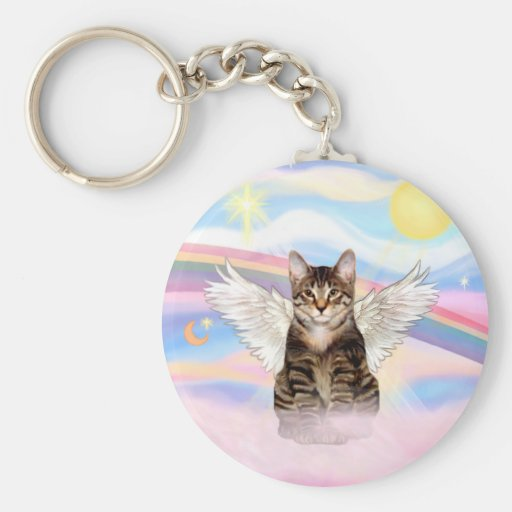 Tabby Tiger Cat Angel in Clouds Key Chains