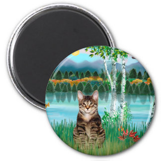 Tabby Tiger Cat  - Birches 2 Inch Round Magnet
