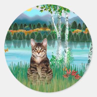 Tabby Tiger Cat  - Birches Classic Round Sticker