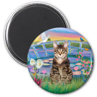 Tabby Tiger Cat - Sunrise Lilies 2 Inch Round Magnet