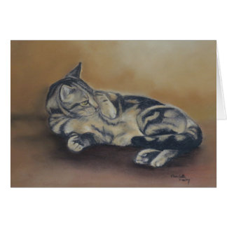 Tabby Tummy Cat Art Note Card