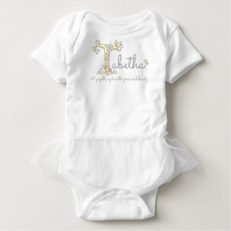 Tabetha girls name meaning T monogram hearts Baby Bodysuit